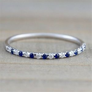 Simple 925 Sliver Blue Sapphire Ring